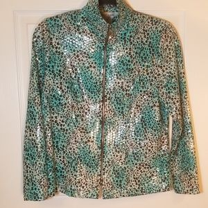 Misook jacket, XS petite, green w/animal print